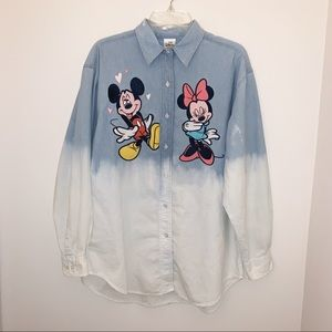 Vintage Mickey and Minnie Dyed Button Up